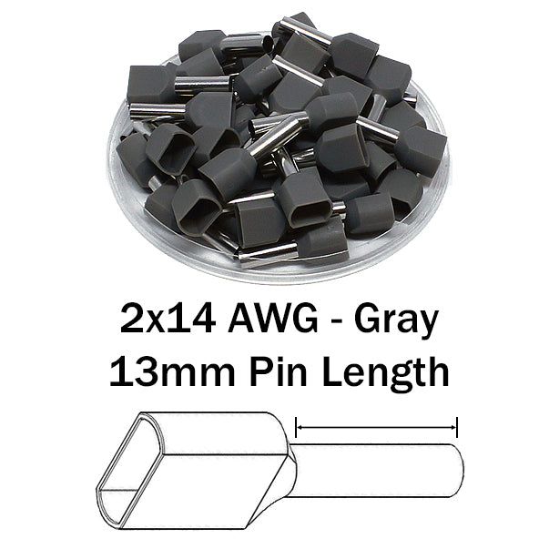 2x14 AWG (13mm Pin) Twin Wire Ferrules - Gray