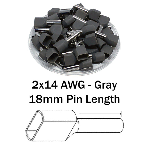 2x14 AWG (18mm Pin) Twin Wire Ferrules - Gray