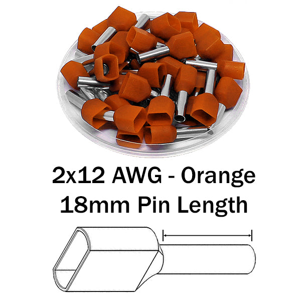 2x12 AWG (18mm Pin) Twin Wire Ferrules - Orange