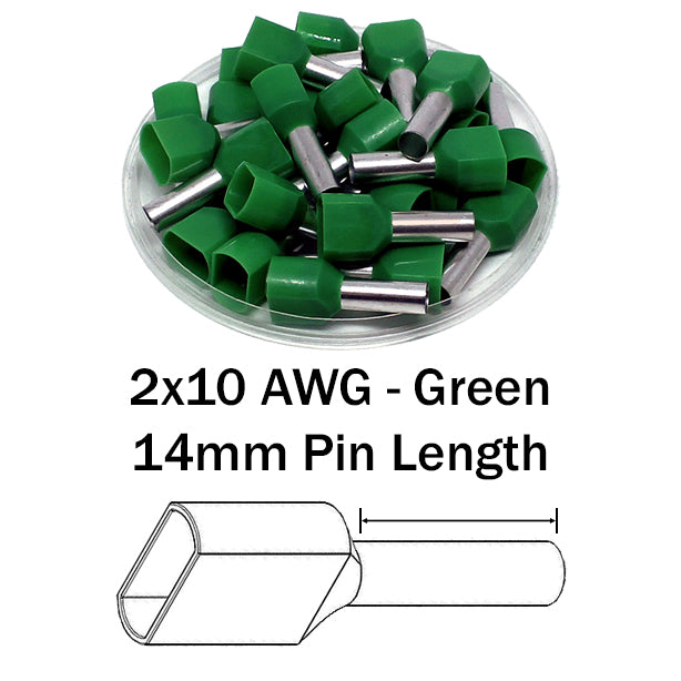 2x10 AWG (14mm Pin) Twin Wire Ferrules - Green