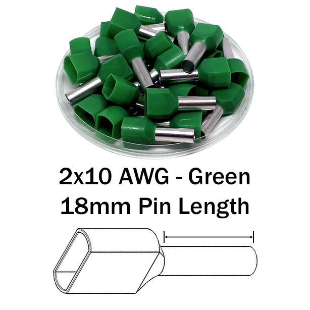2x10 AWG (18mm Pin) Twin Wire Ferrules - Green