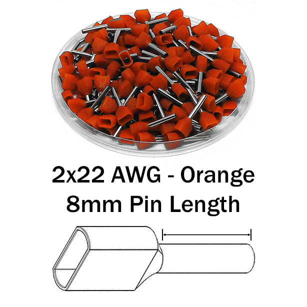 2x22 AWG (8mm Pin) Twin Wire Ferrules - Orange