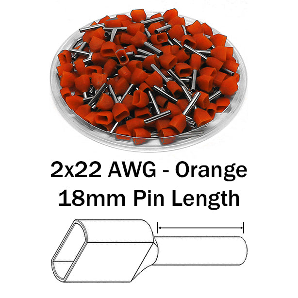 2x22 AWG (18mm Pin) Twin Wire Ferrules - Orange