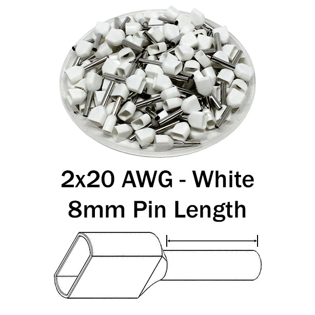 2x20 AWG (8mm Pin) Twin Wire Ferrules - White