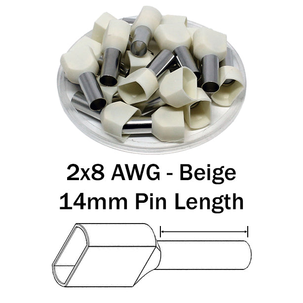 2x8 AWG (14mm Pin) Twin Wire Ferrules - Beige