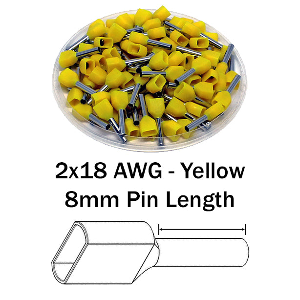 2x18 AWG (8mm Pin) Twin Wire Ferrules - Yellow