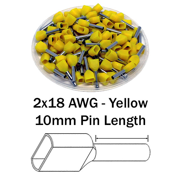 2x18 AWG (10mm Pin) Twin Wire Ferrules - Yellow