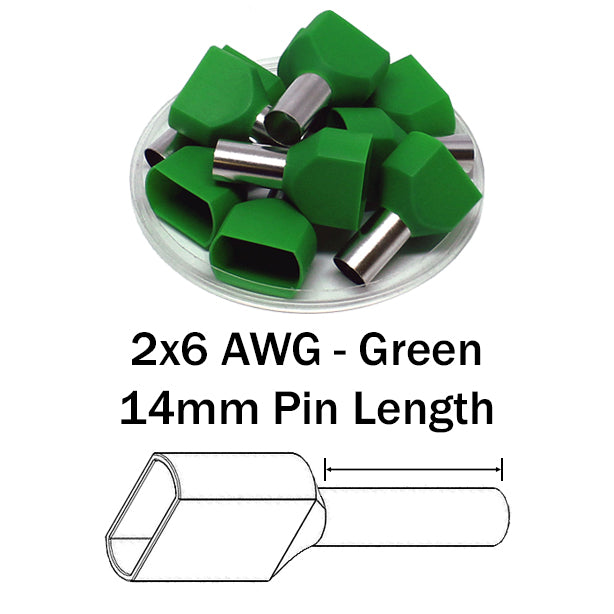 2x6 AWG (14mm Pin) Twin Wire Ferrules - Green
