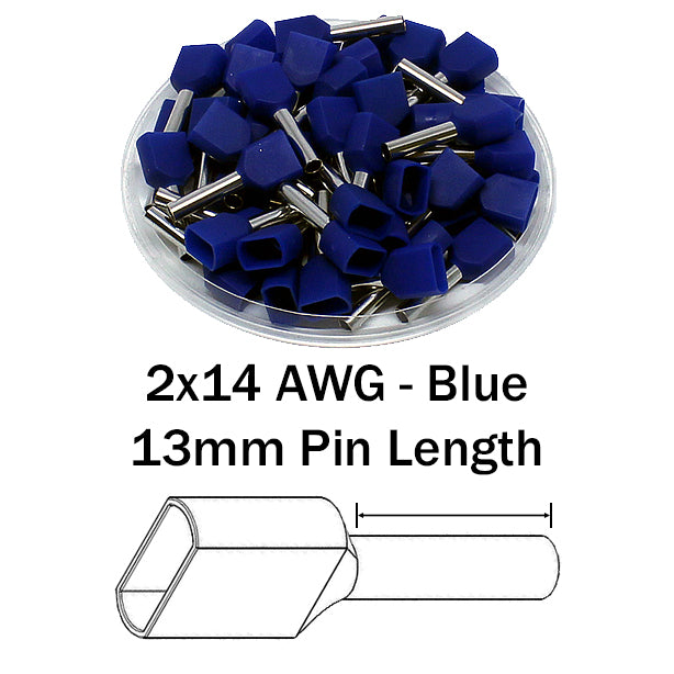 2x14 AWG (13mm Pin) Twin Wire Ferrules - Blue