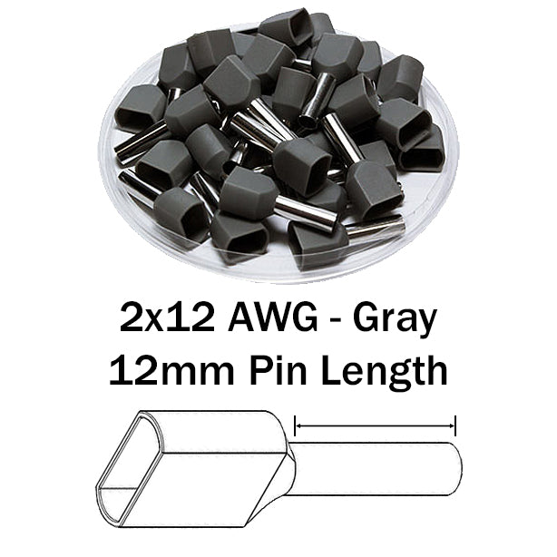 2x12 AWG (12mm Pin) Twin Wire Ferrules - Gray