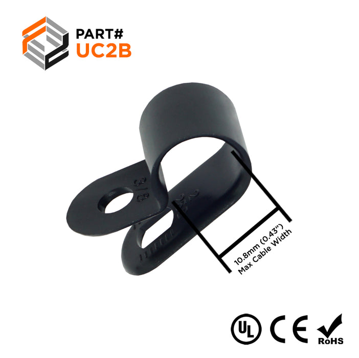 "UC2B - Strap Type Cable Clamps - 26.6 x 12.3mm (1.04 x 0.48"") - Black"