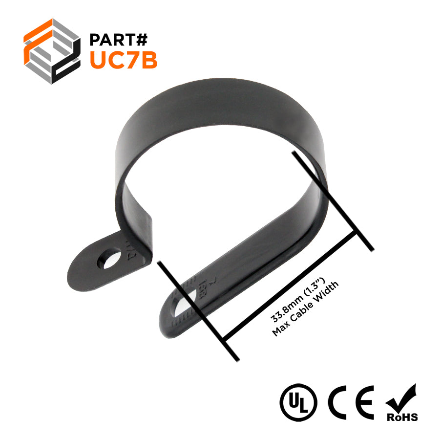 "UC7B - Strap Type Cable Clamps - 52.3 x 12mm (2.06 x 0.47"") - Black"