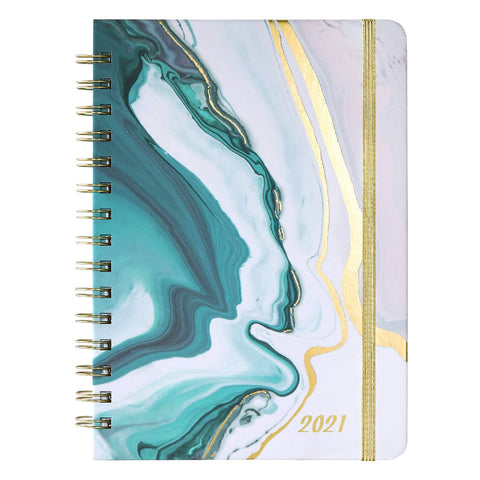 """Planner 2021 - Weekly & Monthly Planner with Tabs, 6.5"""" x 8.5"""", Hardcover with Thick Paper + Back Pocket + Banded, Twin-Wire Binding - Sea Blue"""