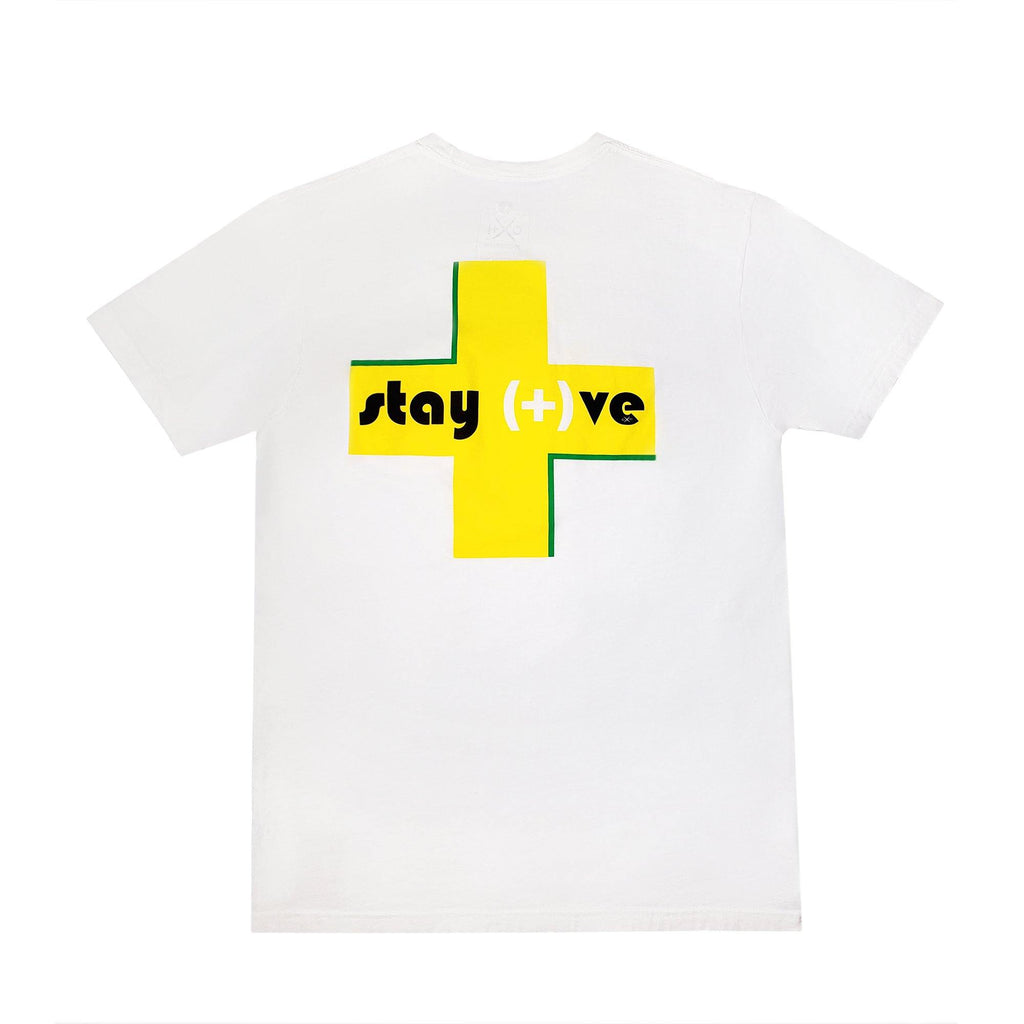 Stay Positive Crew Neck Pocket T-Shirt - XOH!DNAIR