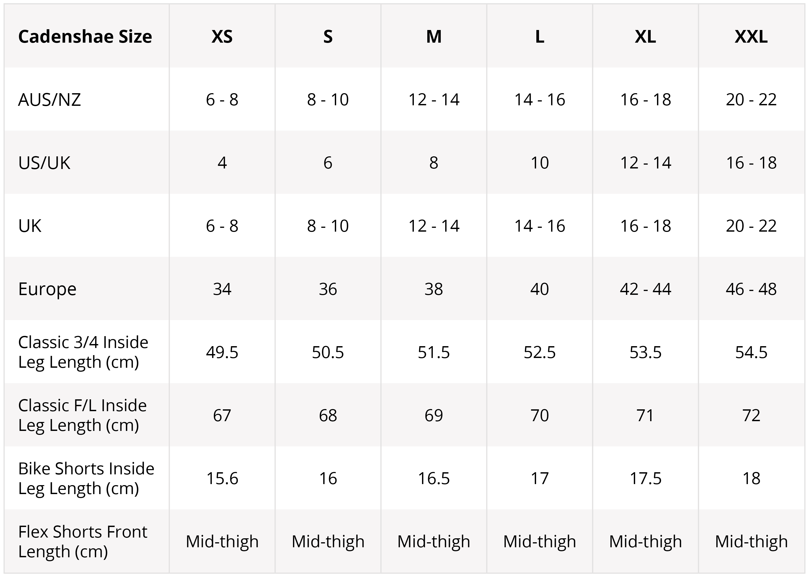 Leggings Sizes