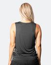 back view of an active mum wearing a raven breastfeeding top