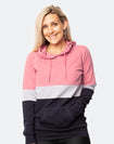 Front view of active mum wearing block coloured breastfeeding hoodie