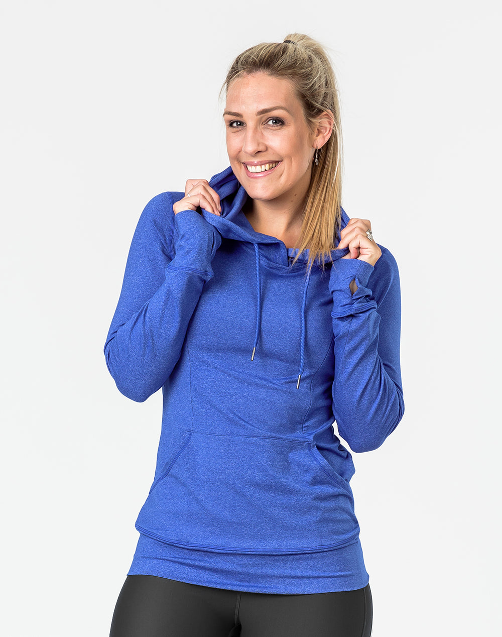 front view of a fit mother in a blue activewear breastfeeding hoodie