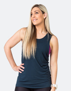 active mom wearing a peacock color breastfeeding top casual tank