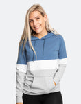 front view of an active mom wearing a fresh blue and gray casual breastfeeding hoodie