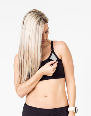 black racerback nursing bra with one drop down cup unclipped showing gray underlining