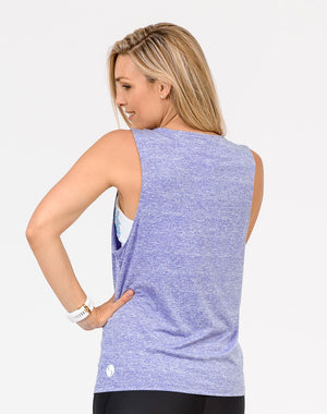 back view of a pregnant mom wearing a lilac breastfeeding top