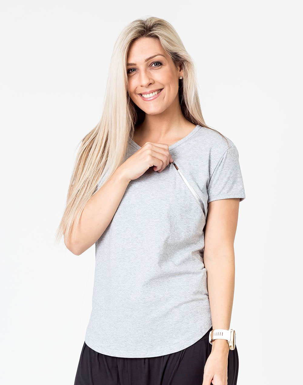 front view of an active mom wearing a gray scoop breastfeeding t-shirt with invisible zip unzipped