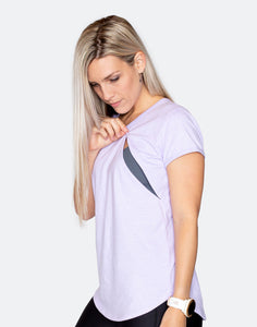 side view of an active mom in a lilac breastfeeding workout t-shirt
