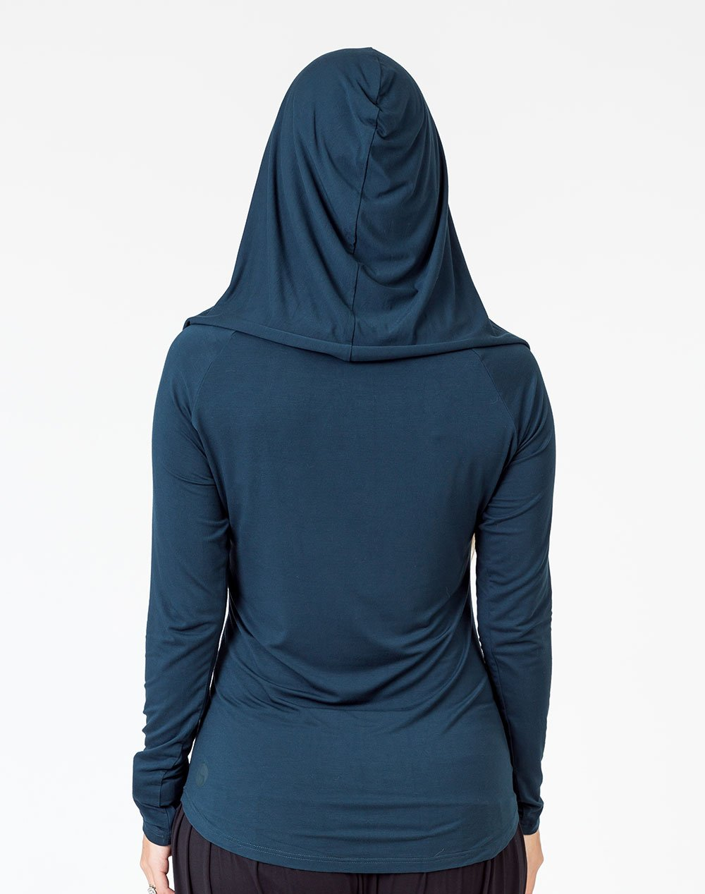 back view of a mom wearing a peacock color breastfeeding hoodie with the hood up