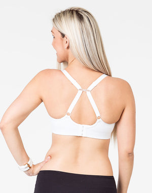 back view of a mom wearing a maternity bra with a racerback option