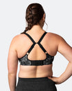 racerback front closure nursing bra with DD to G cups in leaf print