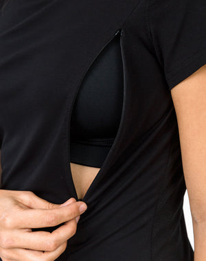 black breastfeeding t-shirt close up of invisible zip unzipped for nursing