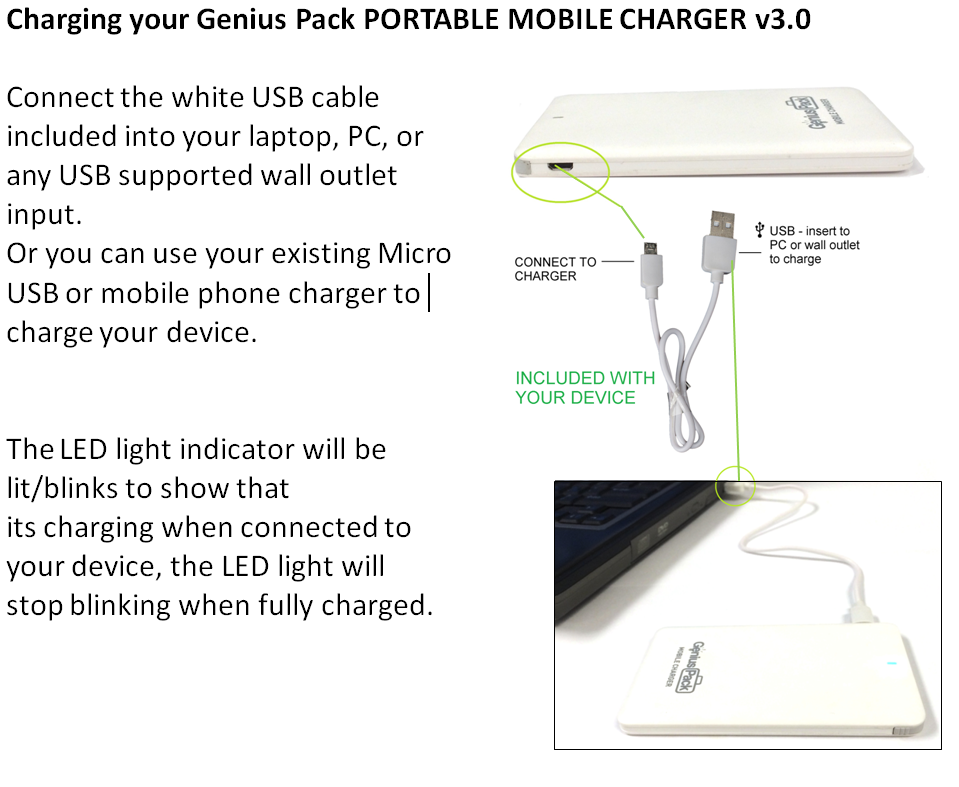 PORTABLE MOBILE CHARGER v3 0 INSTRUCTIONS | Genius Pack