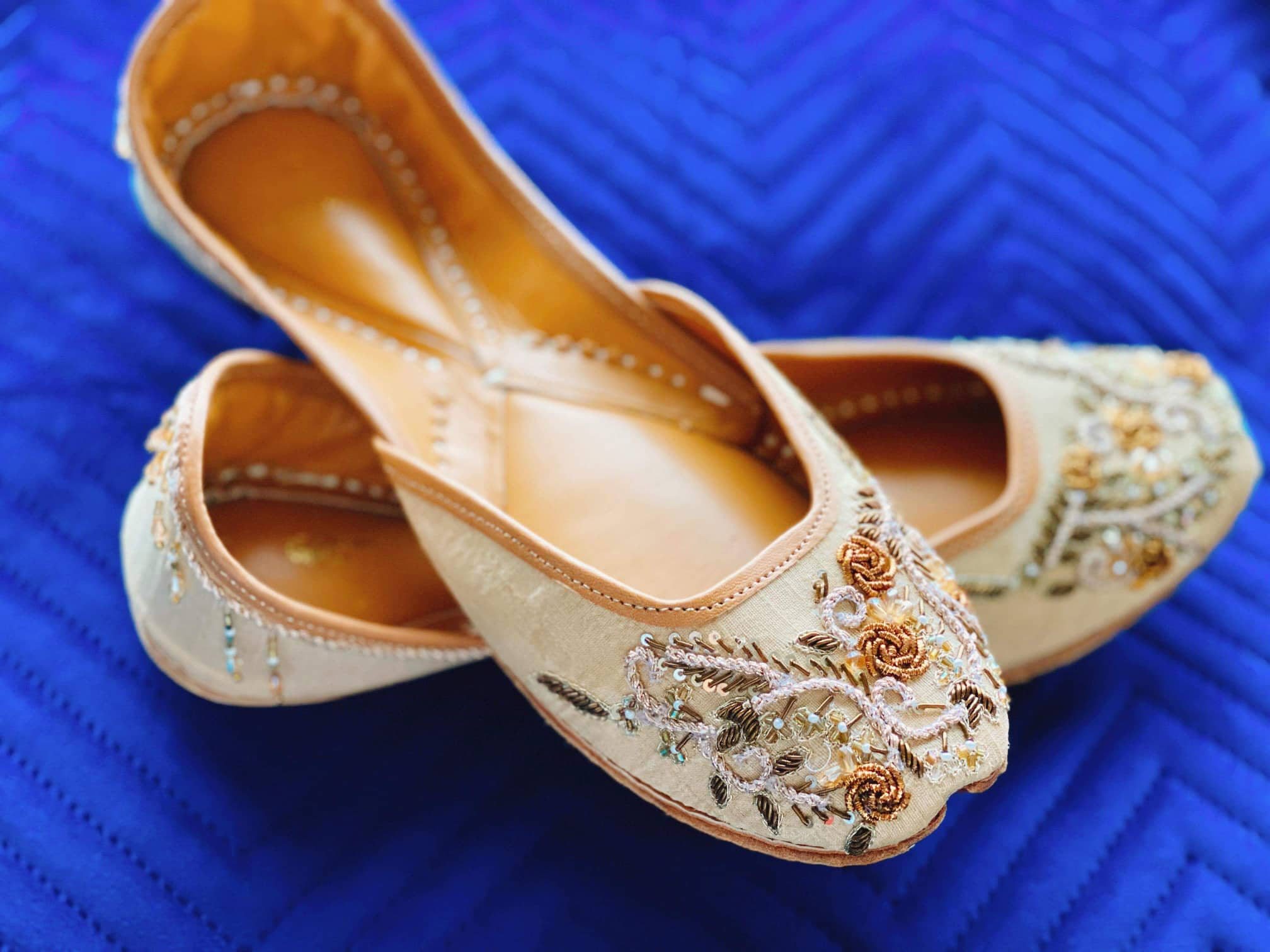 "Khaki ""Dilar"" Embroidered Khussa Shoes"