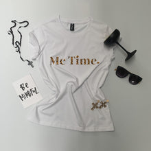 Load image into Gallery viewer, Me Time. Raff Tee - White - Signature Leopard Print Logo