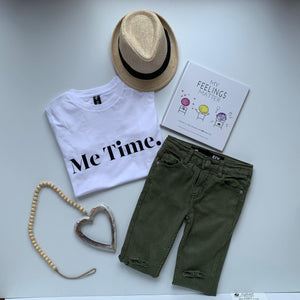 Me Time. Youth Raff Tee - White