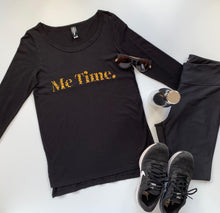 Load image into Gallery viewer, Me Time. Long Sleeve Cool Down Tee - Black - Signature Leopard Print Logo