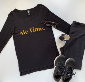 Me Time. Long Sleeve Cool Down Tee - Black - Signature Leopard Print Logo