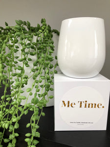 Me Time Candle Vanilla Sandalwood White Vessel
