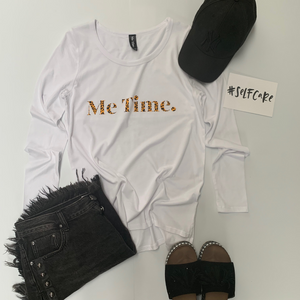 Me Time. Long Sleeve Cool Down Tee - White Signature