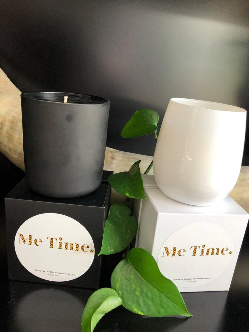 Me Time. Candle - Vanilla & Sandalwood - White Vessel