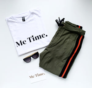 Me Time Let Loose Logo Tank White Black Logo