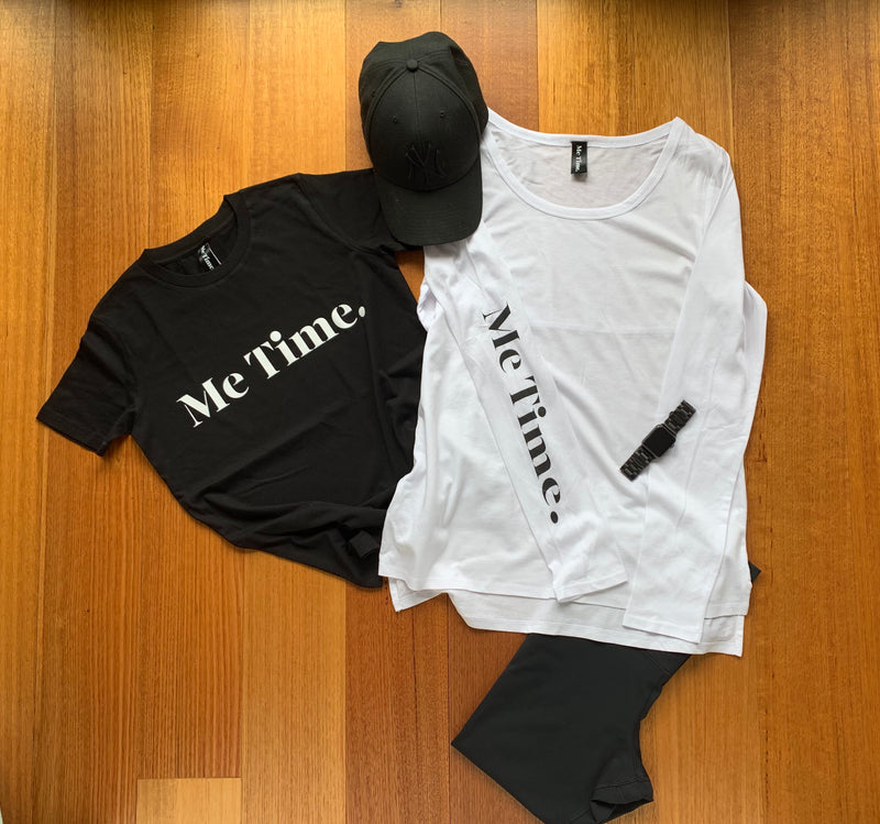 Me Time. Long Sleeve Cool Down Tee - White
