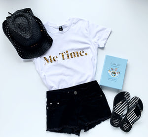Me Time Youth Raff Tee  White  Signature Leopard Print Logo