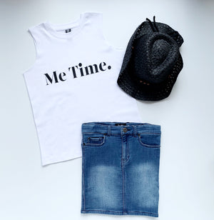 Me Time. Youth Summer Tank - White
