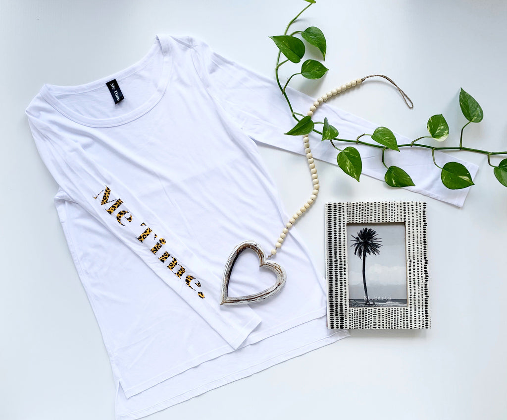 Me Time. Long Sleeve Tee - White - Signature - Me Time. Just For Me