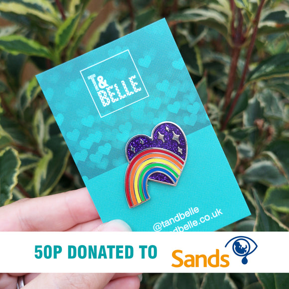 'Celebrating our Rainbow, Remembering our Stars' Bright Enamel Pin - Joy & Loss
