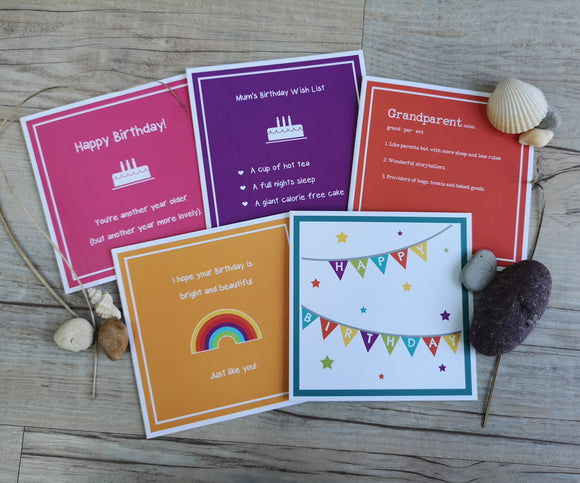 Pack of 5 Colourful, Affirmative and Positive Birthday Cards