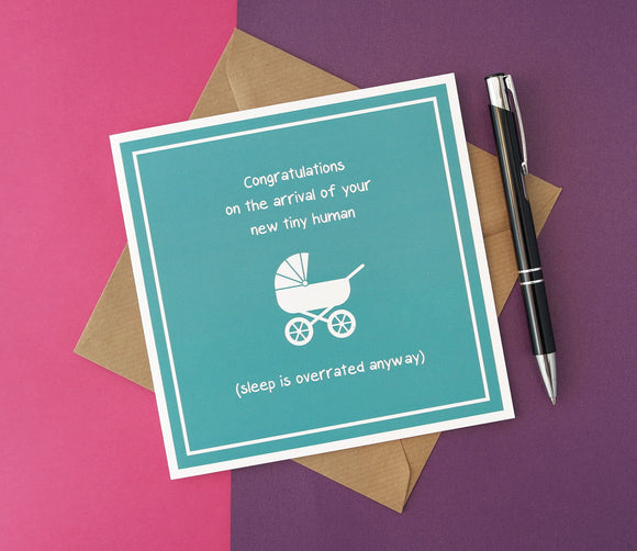 Unisex New Tiny Human Baby New Parents Card