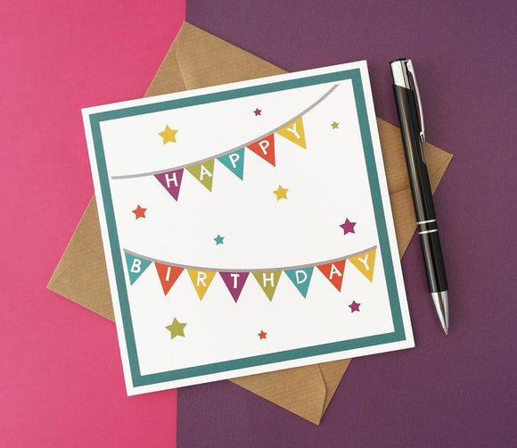 Happy Birthday Colourful Bunting and Stars Card
